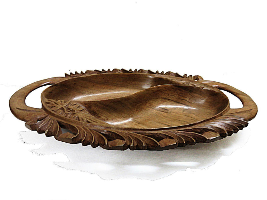 IndicHues Beautiful Wooden Handmade Oval Large Decorative Serving Bowl with Handle from Kashmir