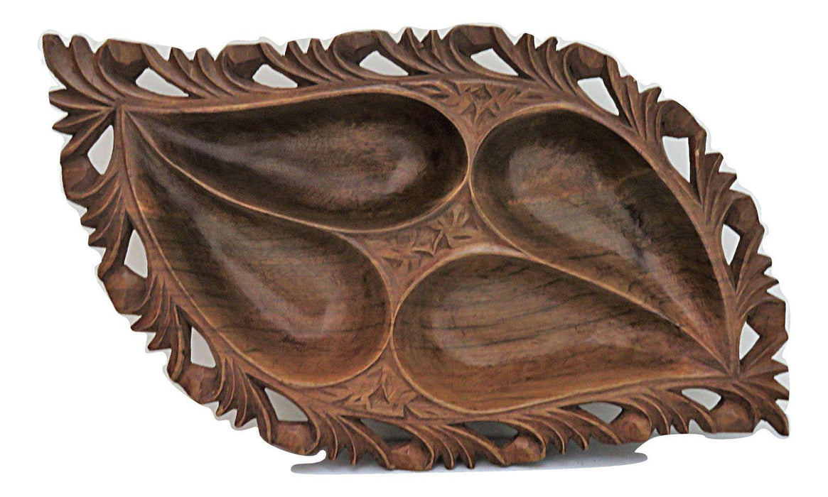 IndicHues Wooden Handcrafted Large Serving bowl with 4 compartments from Kashmir - IndicHues