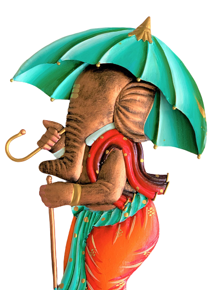 IndicHues Wrought Iron Metal Ganesha With Umbrella Wall Art for Home Decor