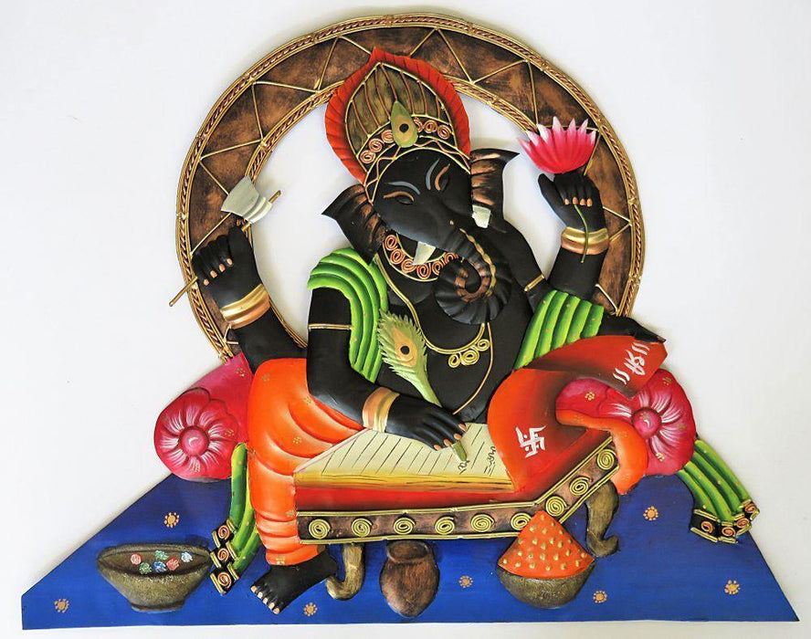 IndicHues Wrought Iron Ganesha Writing an Epic Wall Art - IndicHues