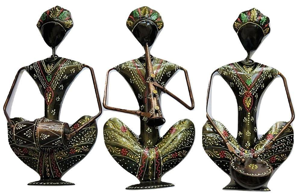 IndicHues Wrought Iron Tribal Musician Set of 3 - IndicHues