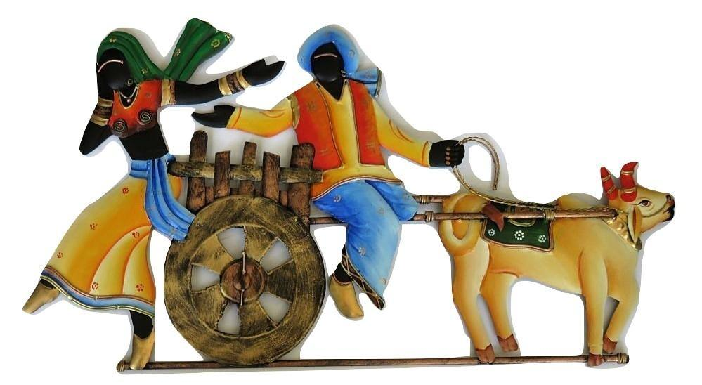 "IndicHues Wrought Iron Tribal Couple On Bullock Cart Wall Art (23""x12.5"") for Home Decor"