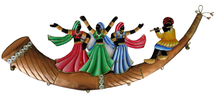 "IndicHues Wrought Iron Tribal Folk Dancers Wall Art Decorative for Home Decor (25.5""x9"")"