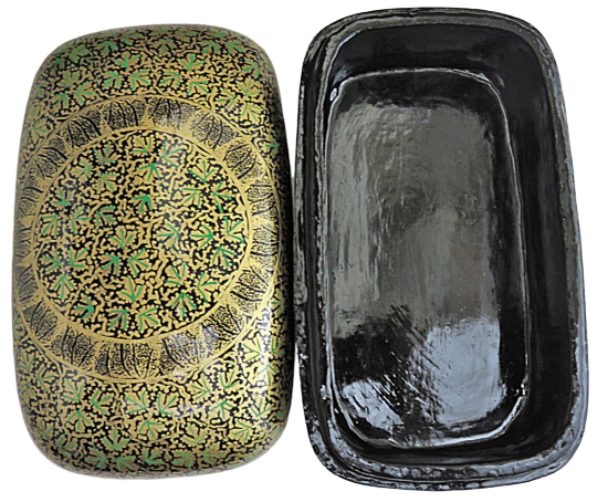 IndicHues Handmade Rectangular Green Chinar Leaves on Black Paper Machie Jewelry Box from Kashmir