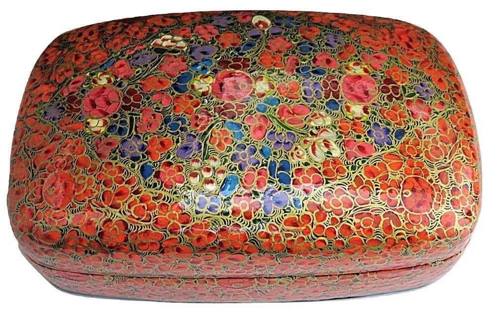 IndicHues Handmade Rectangular Orange Floral Paper Machie Jewelry Box from Kashmir