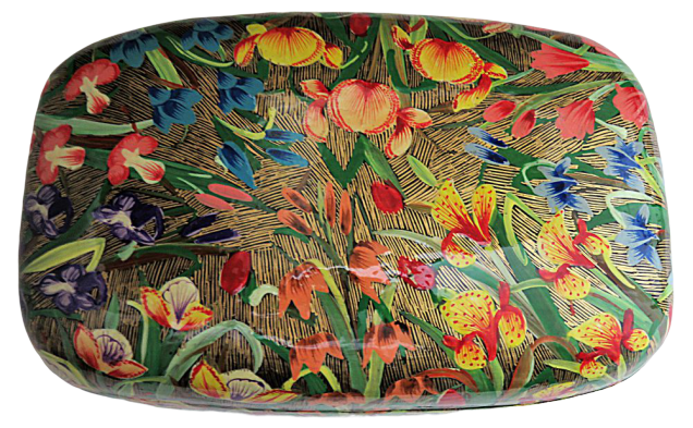 IndicHues Handmade Rectangular Tulips on Paper Machie Jewelry Box from Kashmir