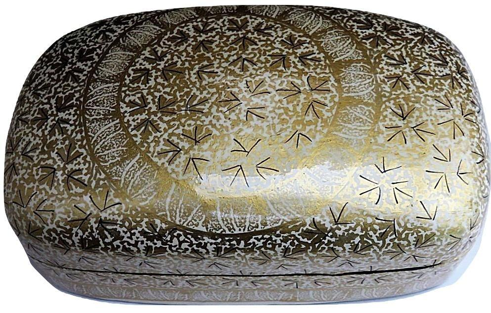 IndicHues Handmade Rectangular White Golden Paper Mache Jewelry Box from Kashmir - IndicHues