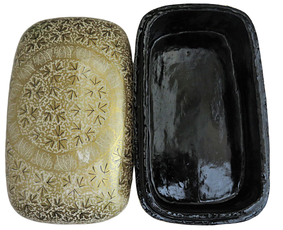 IndicHues Handmade Rectangular White Golden Paper Mache Jewelry Box from Kashmir