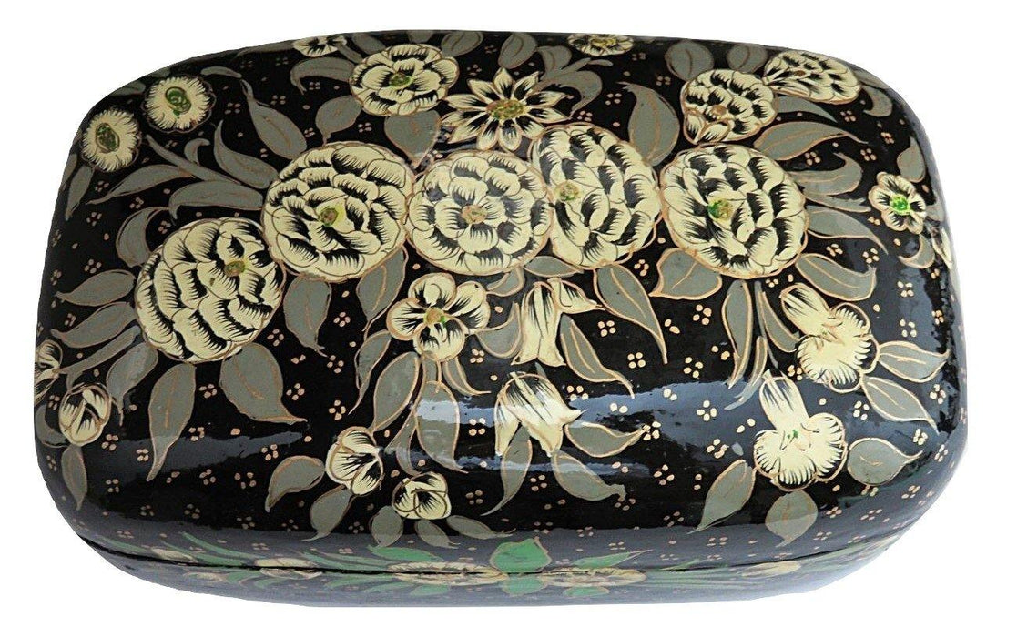 IndicHues Handmade Rectangular White Floral  Motifs on Black Base Paper Mache Jewelry Box from Kashmir - IndicHues