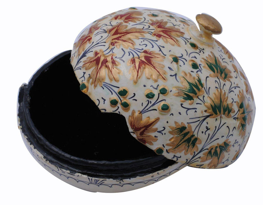 IndicHues handmade Paper Mache Round Jewellery Box with raised work from Kashmir - IndicHues