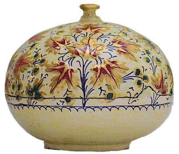 IndicHues handmade Paper Mache Round Jewellery Box with raised work from Kashmir
