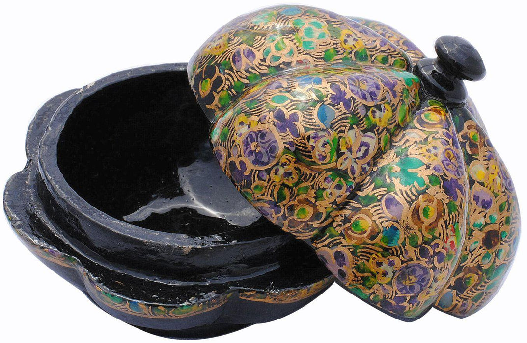 IndicHues handmade Paper Mache lotus shape Trinket Box / Jewelry Storage case from Kashmir