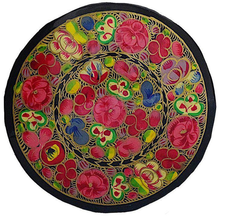 IndicHues Floral Handpainted Round Paper Mache Coaster set - IndicHues