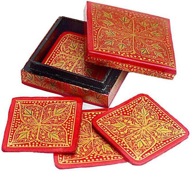 IndicHues Floral Handpainted  Square shape Paper Mache Coaster set - IndicHues