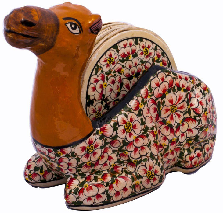 IndicHues Floral Handpainted Paper Mache Coaster set in Camel shape - IndicHues