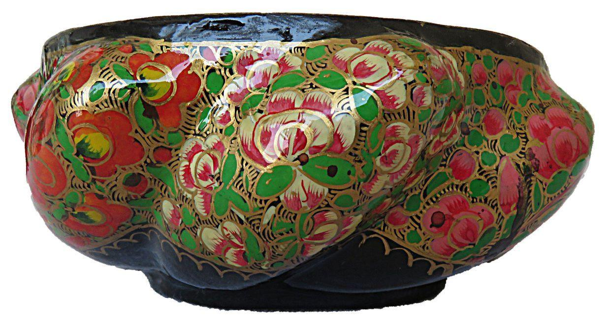 IndicHues Handcrafted Paper Mache Bowl with brass lining from Kashmir