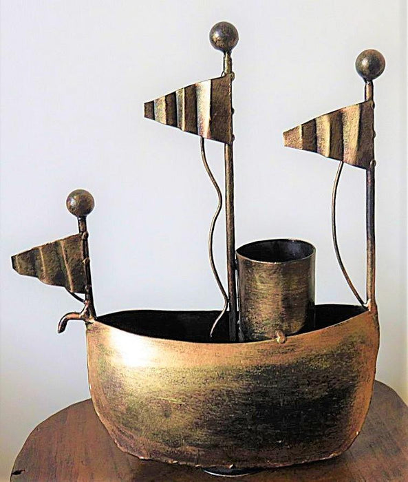 IndicHues Handmade Wrought Iron Ship Pen Stand - IndicHues