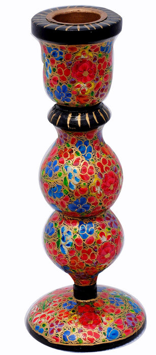 IndicHues Handmade Paper Mache Candle Stand- 6 inch from Kashmir - IndicHues