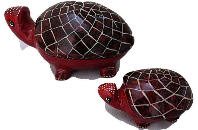 IndicHues Handmade Paper Mache Tortoise set  in Red from Kashmir - IndicHues