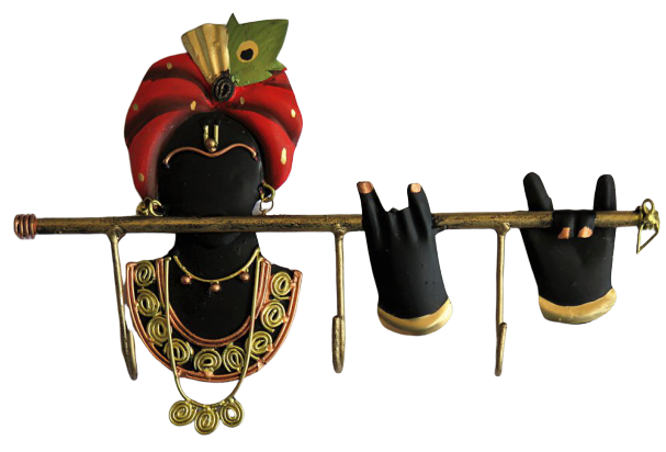 IndicHues Lord Krishna Wrought Iron Key Holder/Key hanger for home decor and gifting purpose || 3 Hooks