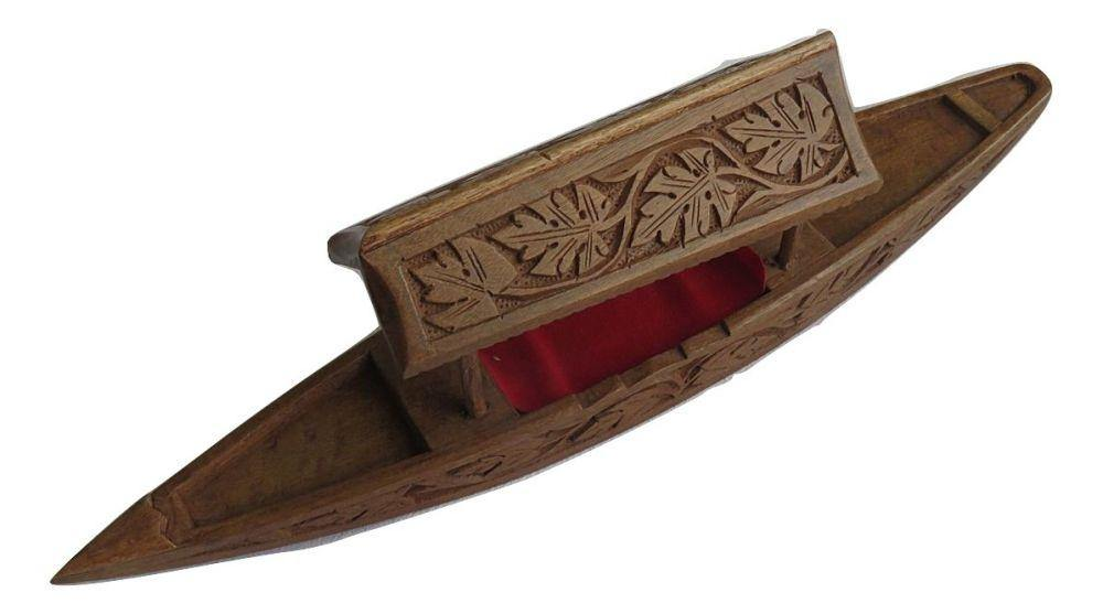 IndicHues Wooden Handcrafted 15 inch Shikara from Kashmir
