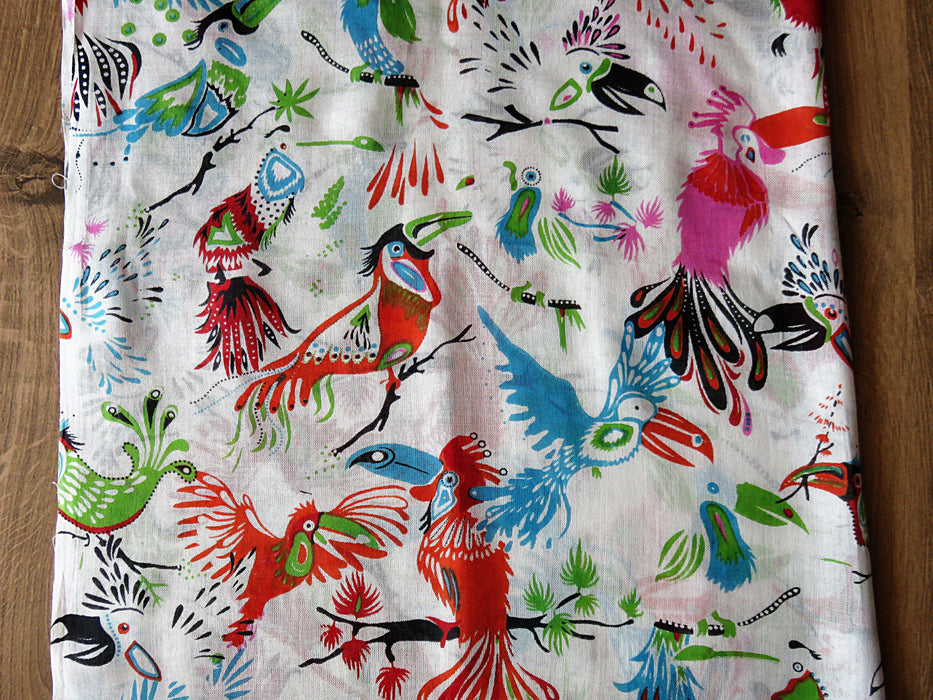 IndicHues soft, lightweight ,breathable Rayon Stole with Colorful Birds on White Base - IndicHues