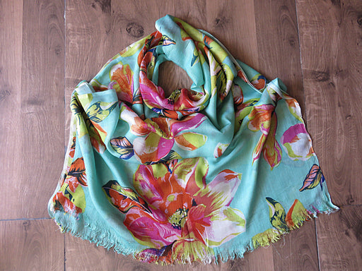 IndicHues soft, lightweight, breathable Rayon Stole in Floral Motifs on Green base - IndicHues