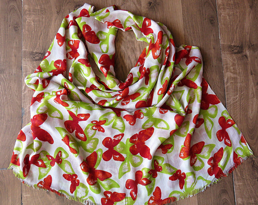IndicHues soft, lightweight , breathable Rayon Stole in Red & Green Butterfly Design - IndicHues