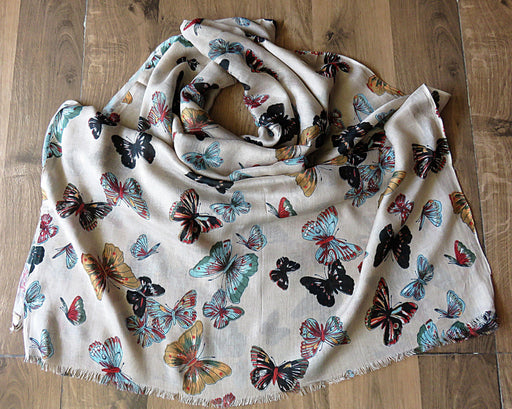 IndicHues soft, lightweight ,breathable Rayon Stole with Butterflies on Brown Base - IndicHues