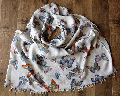 IndicHues soft, lightweight, breathable Rayon Stole with Butterflies on White Base - IndicHues