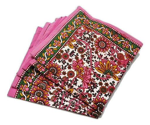 IndicHues Screen Printed Cotton Table Napkins in Set of 6 from Rajasthan - IndicHues