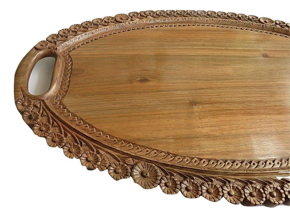 Large Oval Decorative Designer Serving Tray from Kashmir | Wooden Tray —  IndicHues