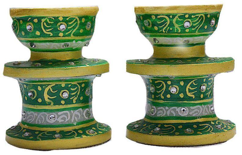 IndicHues Marble Candle Holder pair in green - IndicHues