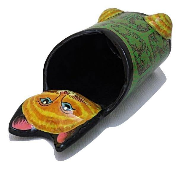 IndicHues Handmade Paper Mache Pen Stand Cat Face from Kashmir - IndicHues