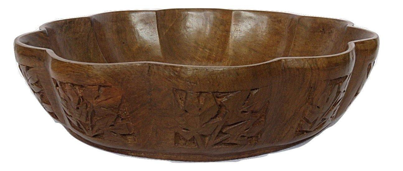 IndicHues Wooden Hand Turned Bowl With Side Carving from Kashmir