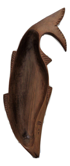 IndicHues Wooden Handmade Fish Shaped Long Carved Serving Tray from Kashmir