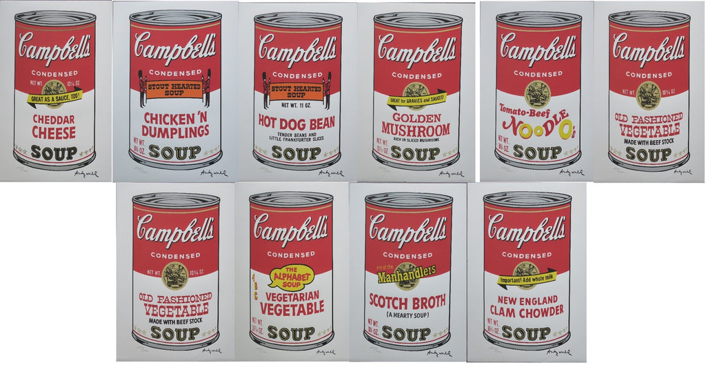 Andy Warhol Campbell's Soup can complete of 10 authenticated lithographs