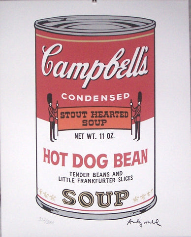 Andy Warhol Lithograph Campbell's Soup Hot Dog Bean signed numbered print
