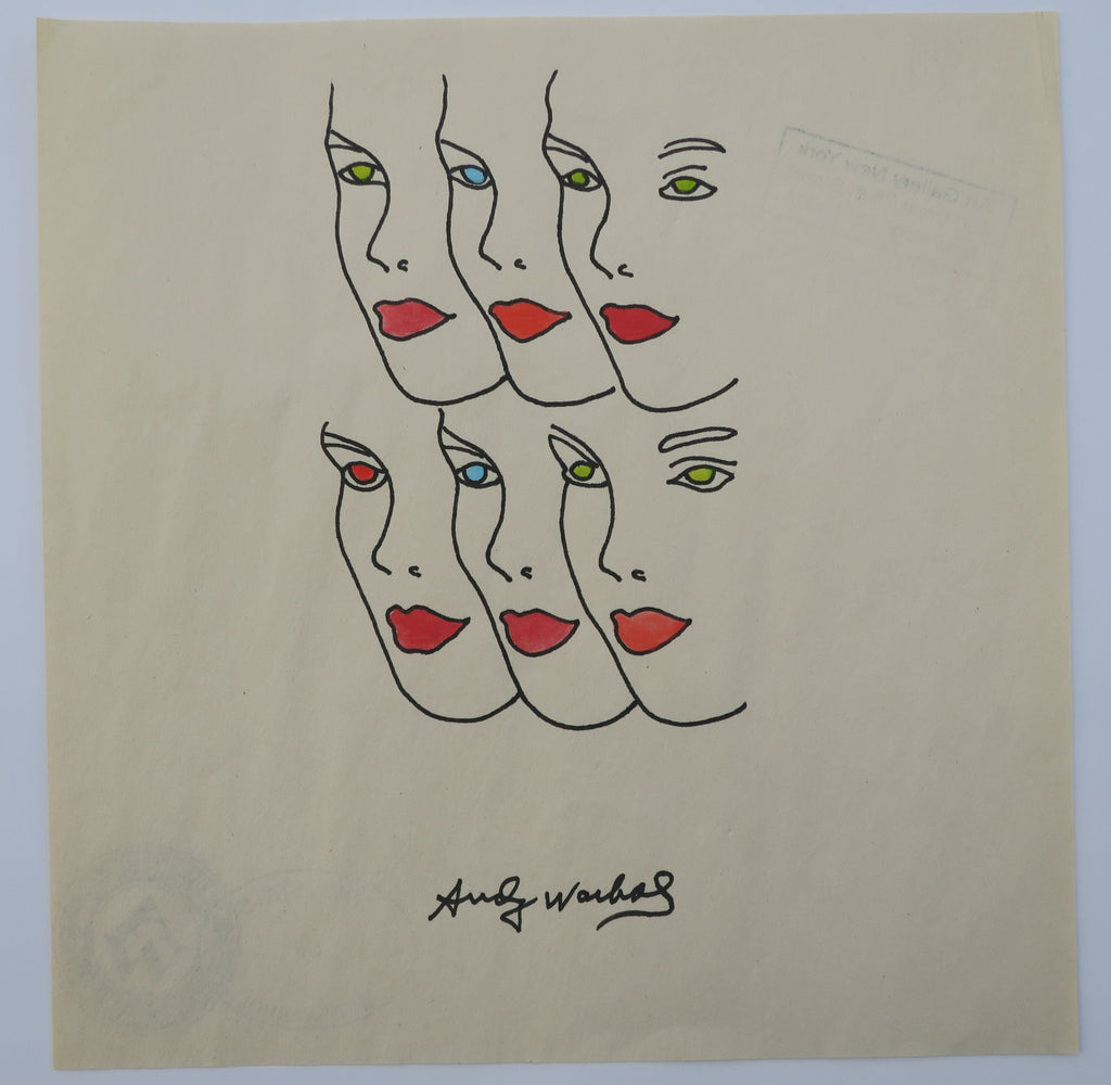 Andy Warhol painting Womens Faces with various lipsticks