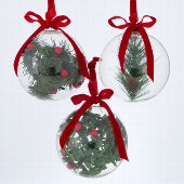 Set of 3 Clear Holly Baubles