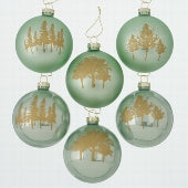 Box of 12 Sage Baubles with Gold Tree Design