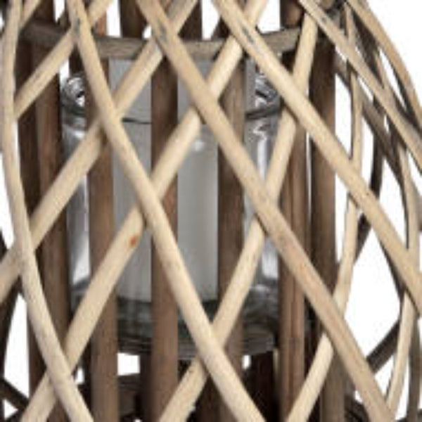 Small Wicker Bulbous Lantern