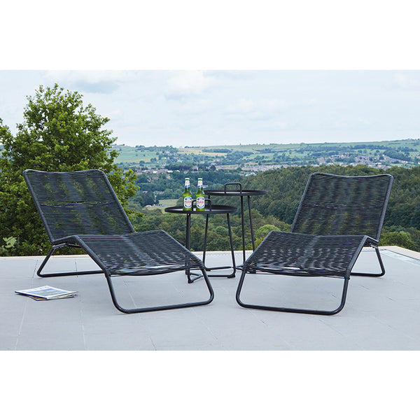 Rio Set of 2 Sun Loungers - Black