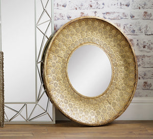 Sienna Gold Metal Round Wall Mirror
