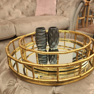 Set of Two Round Gold Bamboo Effect Trays