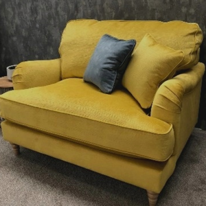 The Beatrix Collection Loveseat in Norfolk Mustard with Light Turned Feet