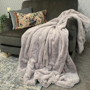 Harper Luxe Faux Fur Throw - Ash Grey