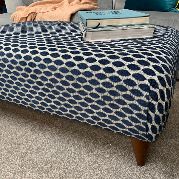 Large Hugo Footstool in Spirit Navy