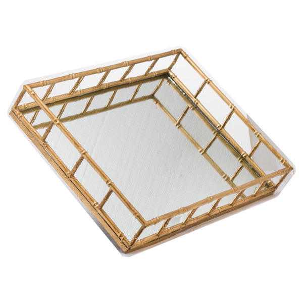 Set of Two Rectangular Gold Bamboo Effect Trays