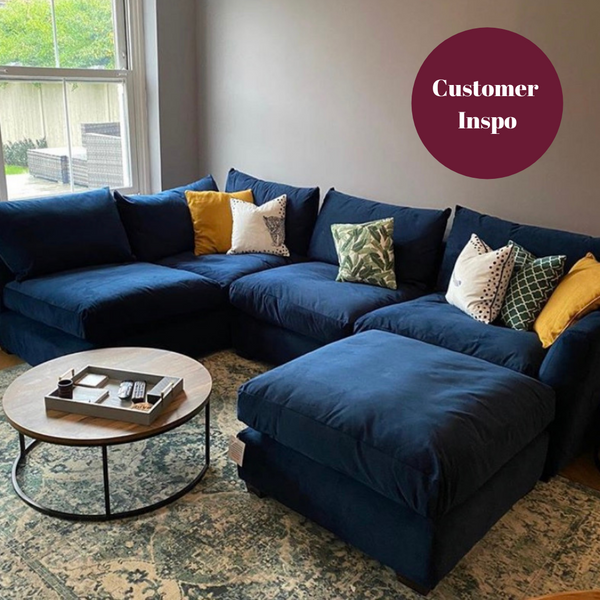 Arriving Jan 2021!! Limited Edition Finley Collection Corner Sofa in Plush Indigo Velvet